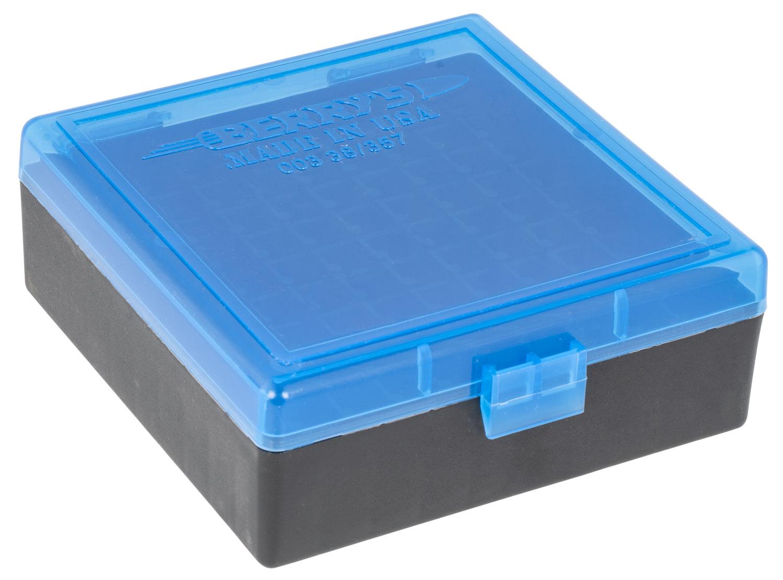 Berrys 95182 003 Ammo Box 38 Special,357 Mag 100rd Blue Lid w/Black Bottom
