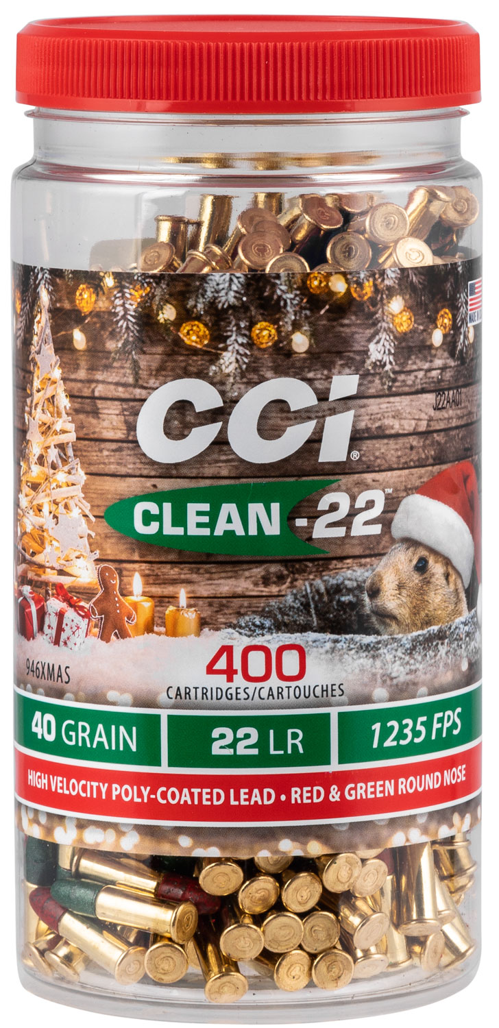 CCI 946XMAS Clean-22 Christmas Ammo 22 LR 40 gr Lead Round Nose Poly-Coated Red/Green 400 Bx/ 8 Cs