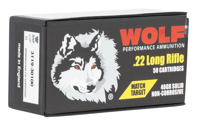 Wolf Match Target 22 LR 40 gr Round Nose (RN) 50 Bx/ 100 Cs