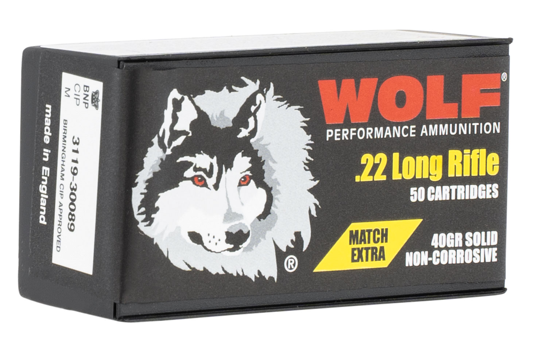 Wolf Match Extra 22 LR 40 gr Round Nose (RN) 50 Bx/ 100 Cs