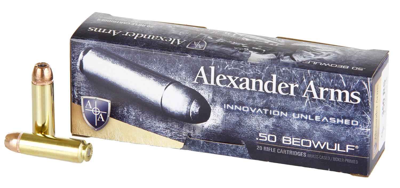 ALEXANDER ARMS LLC AB350XTPBOX OEM  50 Beowulf 350 gr Hollow Point (HP) 20 Bx/ 10 Cs