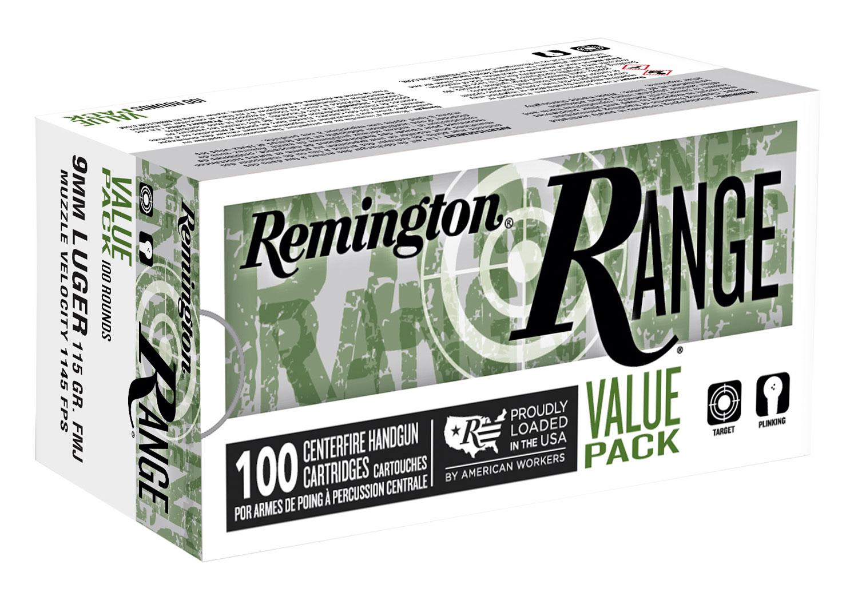 Remington Ammunition Range 9mm Luger 115 gr Full Metal Jacket (FMJ) 100 Bx/ 6 Cs