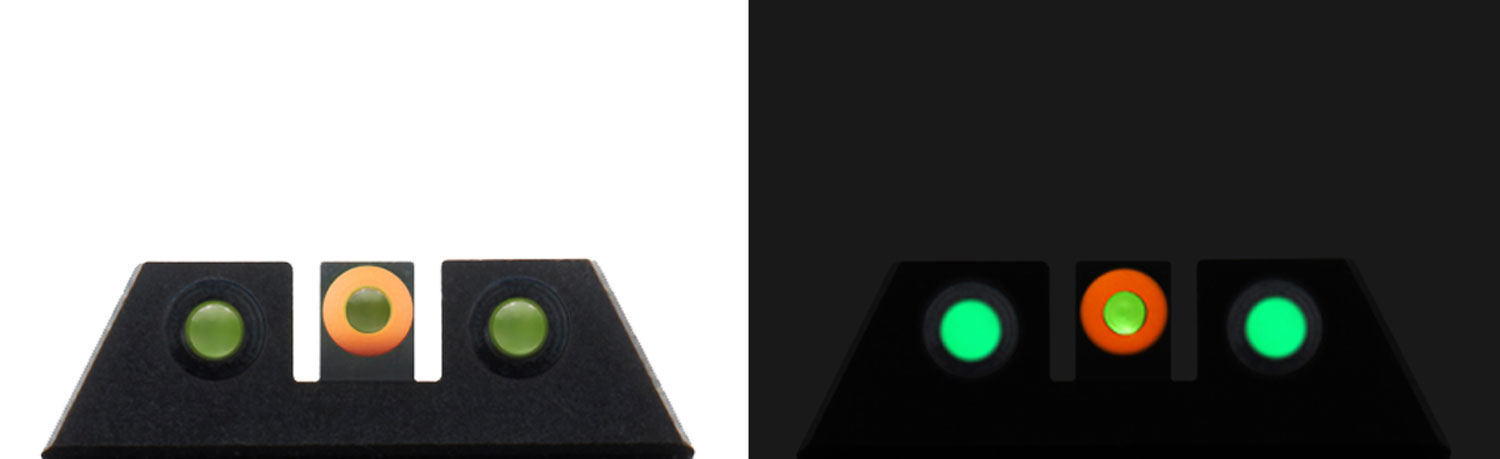 Night Fision Glow Dome compatible with Glock 42, 43, 43X Square Front/U-Notch Rear Green w/Orange Outline Green Black