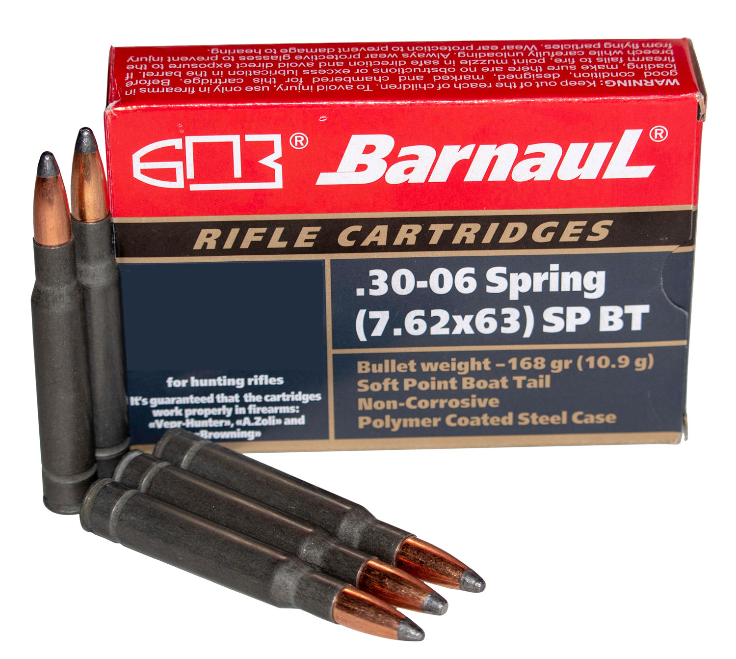 Barnaul Ammo BRN3006SPRSPBT168 Rifle  30-06 Springfield 168 gr Soft Point Boat Tail (BTSP) 20 Bx/ 25 Cs