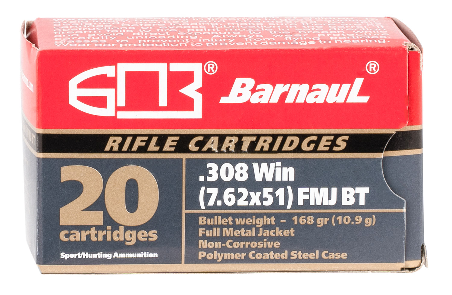 Barnaul Ammo BRN308WINFMJBT168 Rifle  308 Win 168 gr Full Metal Jacket Boat Tail (FMJBT) 20 Bx/ 25 Cs