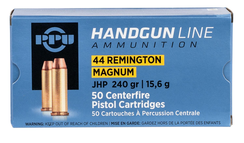 PPU PPH44MH Handgun  44 Rem Mag 240 gr Jacketed Hollow Point 50 Bx/ 10 Cs