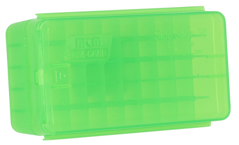 MTM Slide Side Handgun Ammo Box  <br>  9mm and .380 ACP Clear/Green 50 rd.