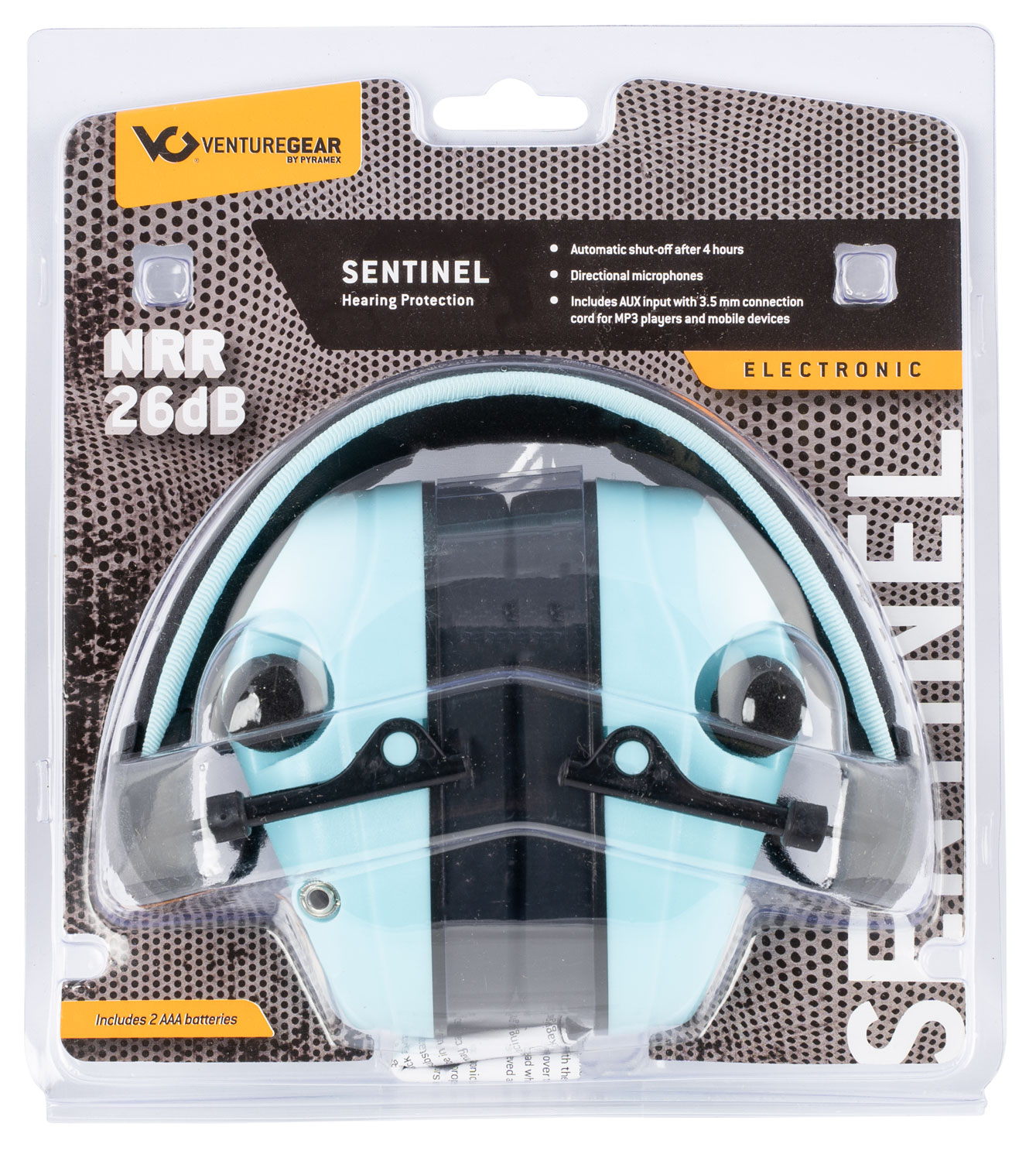 Pyramex VGPME26 Venture Gear Sentinel Muff 26 dB Over the Head Powder Blue Ear Cups with Padded Black Headband for Adults 1 Pair