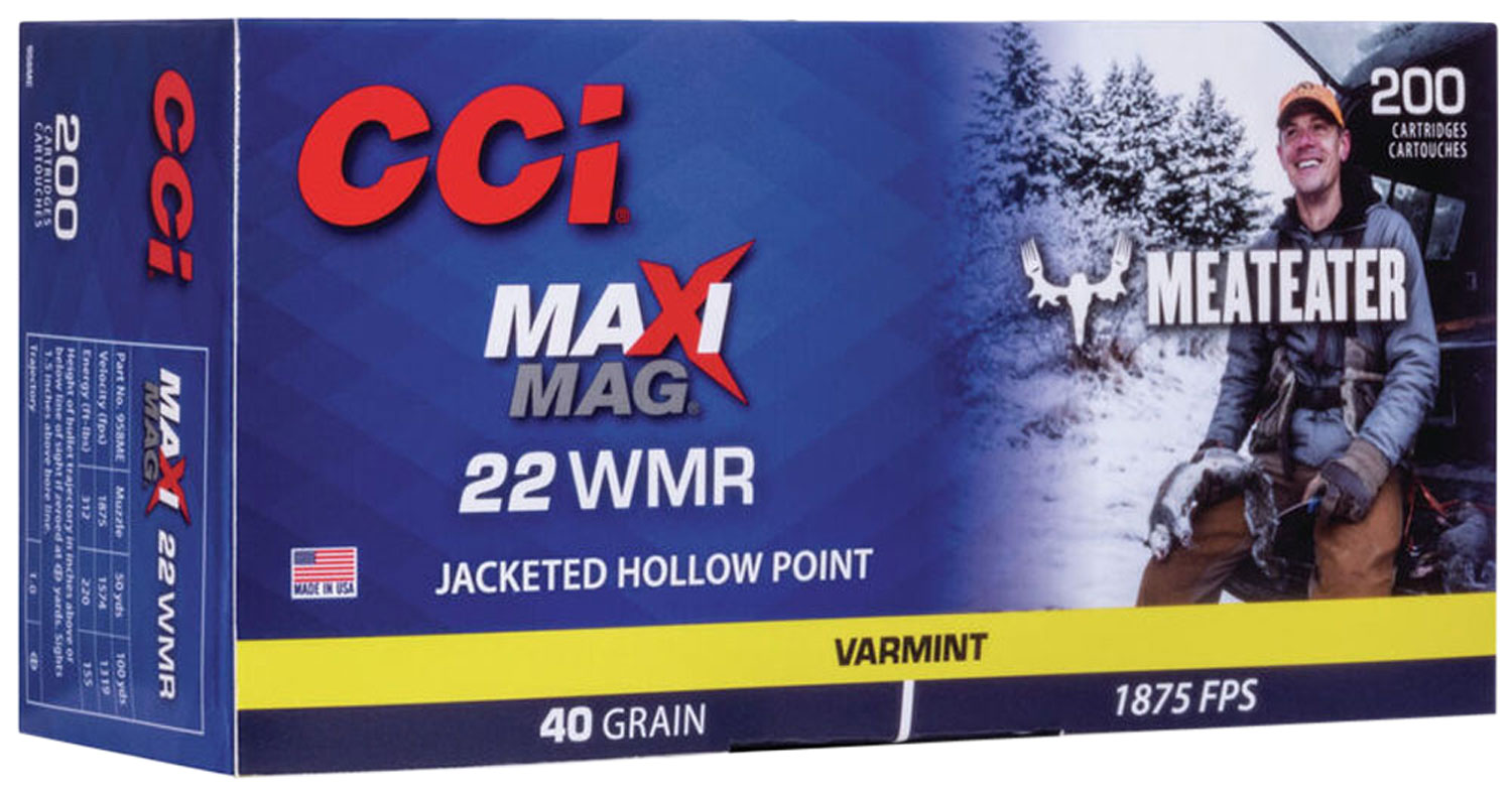 CCI 958ME Maxi-Mag Meat Eater 22 Mag 40 gr Jacketed Hollow Point (JHP) 200 Bx/ 10 Cs