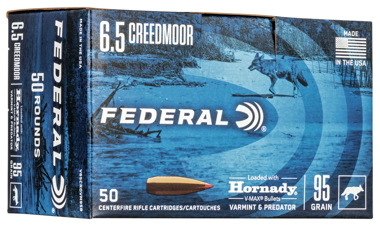 Federal V65CRDVM95B Varmint & Predator  6.5 Creedmoor 95 gr Hornady V-Max (VMX) 50 Bx/ 5 Cs (Bulk Package)