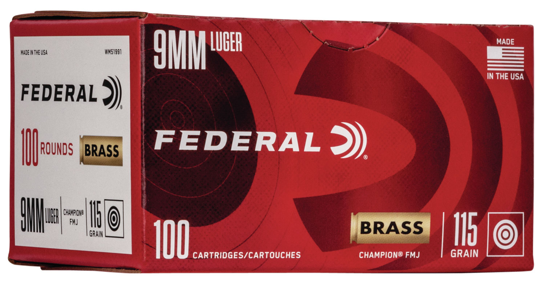 Federal WM51991 Champion Training 9mm Luger 115 gr Full Metal Jacket (FMJ) 100 Bx/ 5 Cs