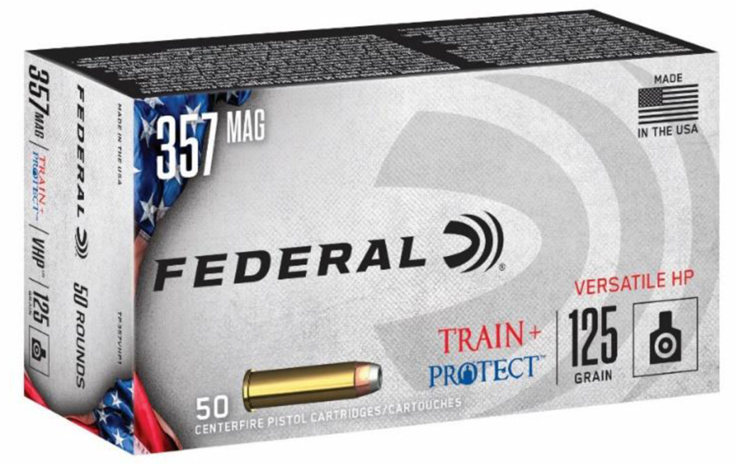 Federal TP357VHP1 Train + Protect  357 Mag 125 gr Jacketed Hollow Point (JHP) 50 Bx/ 10 Cs