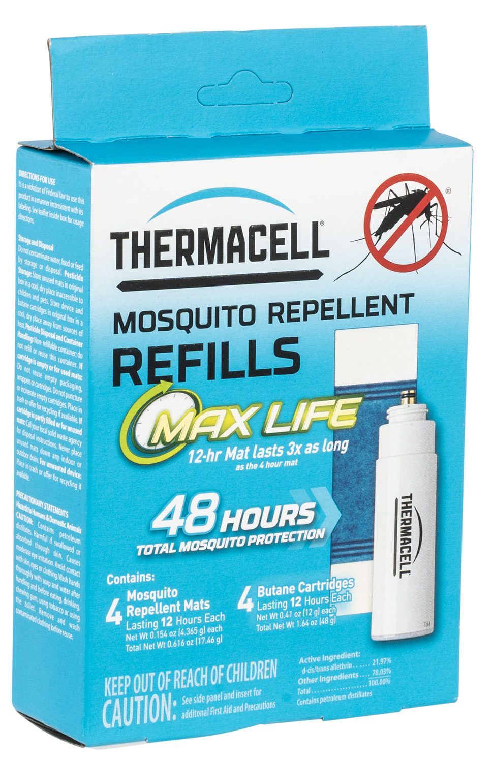THERMACELL REFILL UNIT MAX LIFE 48 HOUR (4 FUEL,4 MATS)