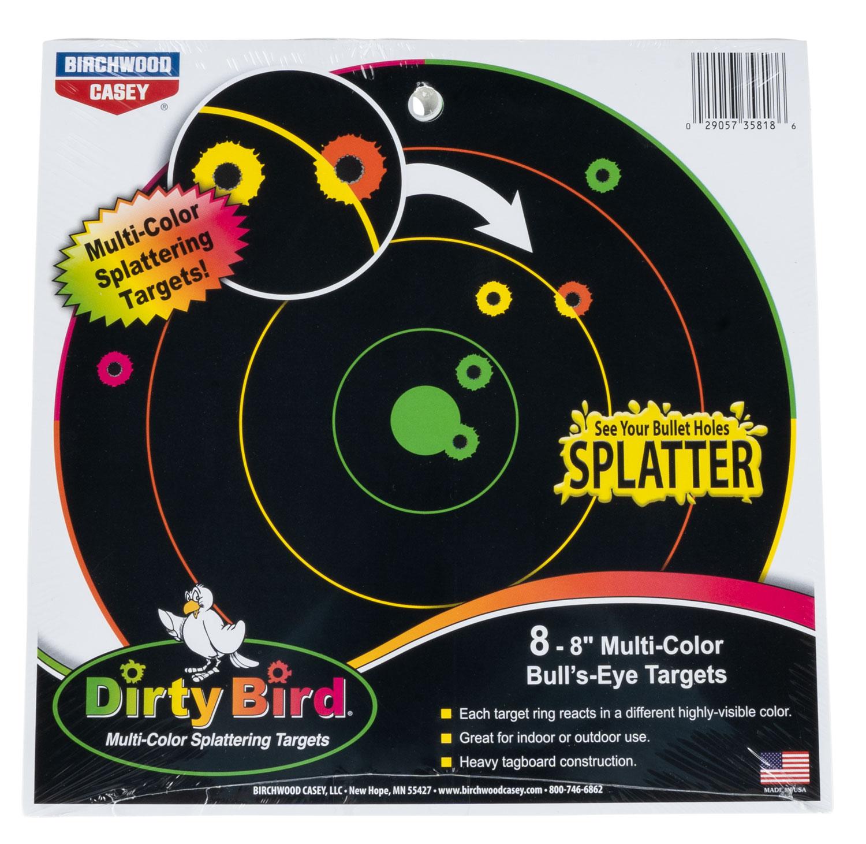 Birchwood Casey 35818 Dirty Bird Bulls-Eye Bullseye Tagboard Target 8
