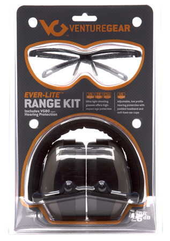 Pyramex VGCCOMBO8610 Ever Lite Range Kit Earmuff/Shooting Glasses 26 dB Black