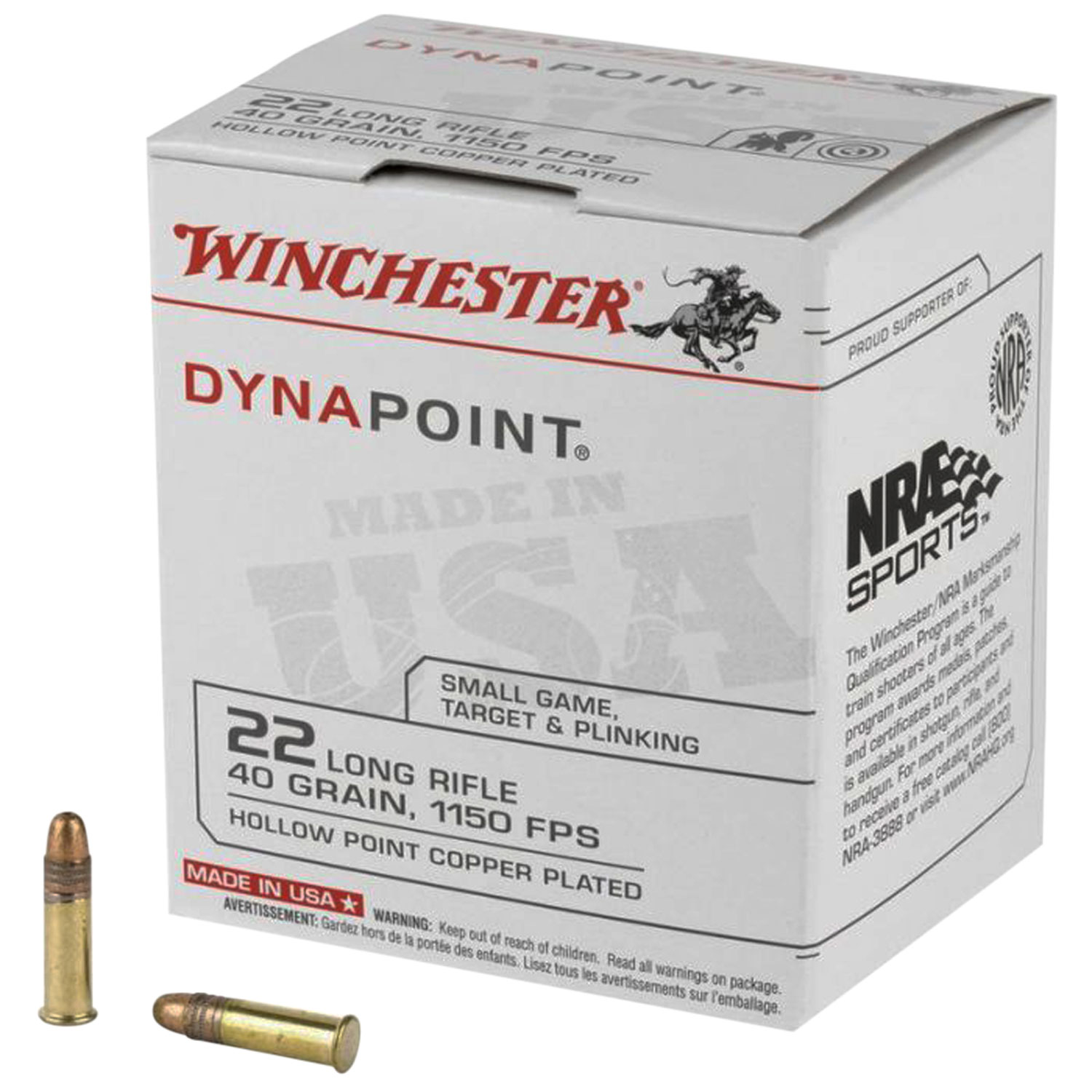 Winchester Ammo WD22LRB USA Dynapoint 22 LR 40 gr Copper Plated Hollow Point (CPHP) 500 Can/ 10 Cs