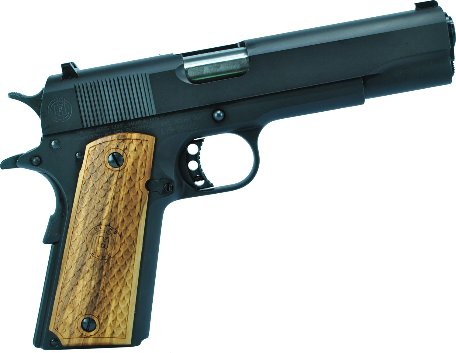GOVERNMENT 1911 38SPR BL/WD 5 - MATTE FINISH / WOOD GRIPS