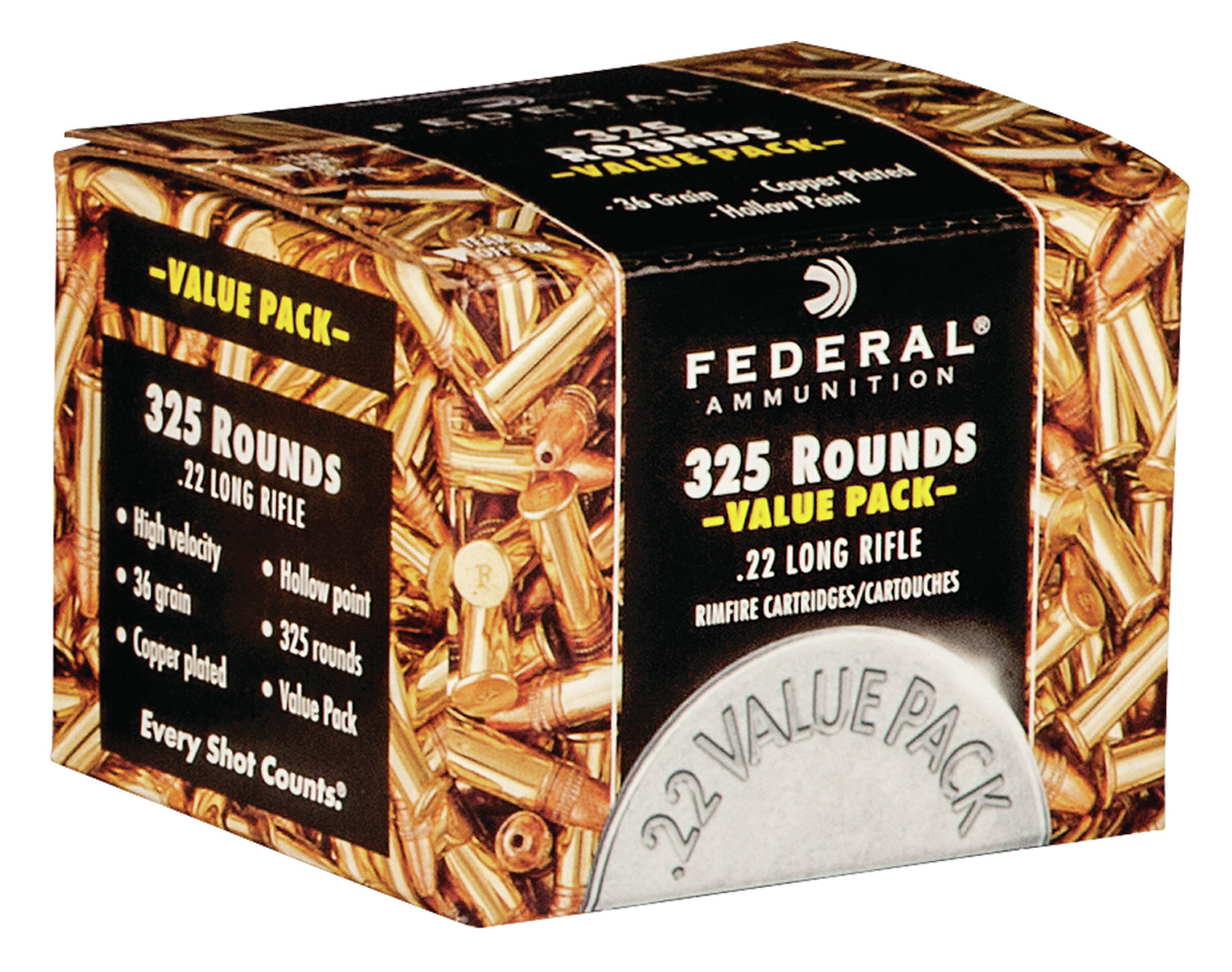 Federal Value Pack Rimfire Ammo  <br>  22 LR. 36 gr. CPHP 325 rd.
