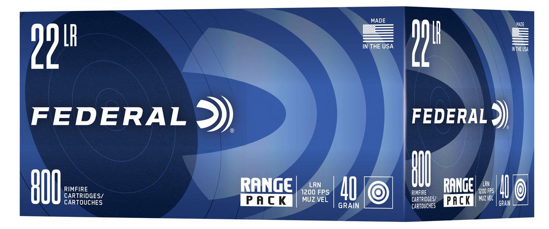 Federal Range Pack Rimfire Ammo  <br>  22 LR. 40 gr. LRN 800 rd.