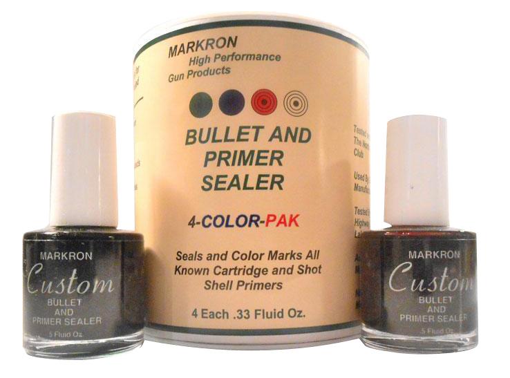 Markron MPS04 Bullet & Primer Sealer  1/3 fl oz Black,Red,Green,Blue 4 Bottles