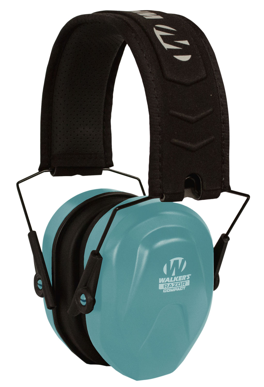 Walkers GWPCRPASBL Razor Compact Passive Muff 24 dB Over the Head Blue Ear Cups with Black Headband & White Logo Youth, Women