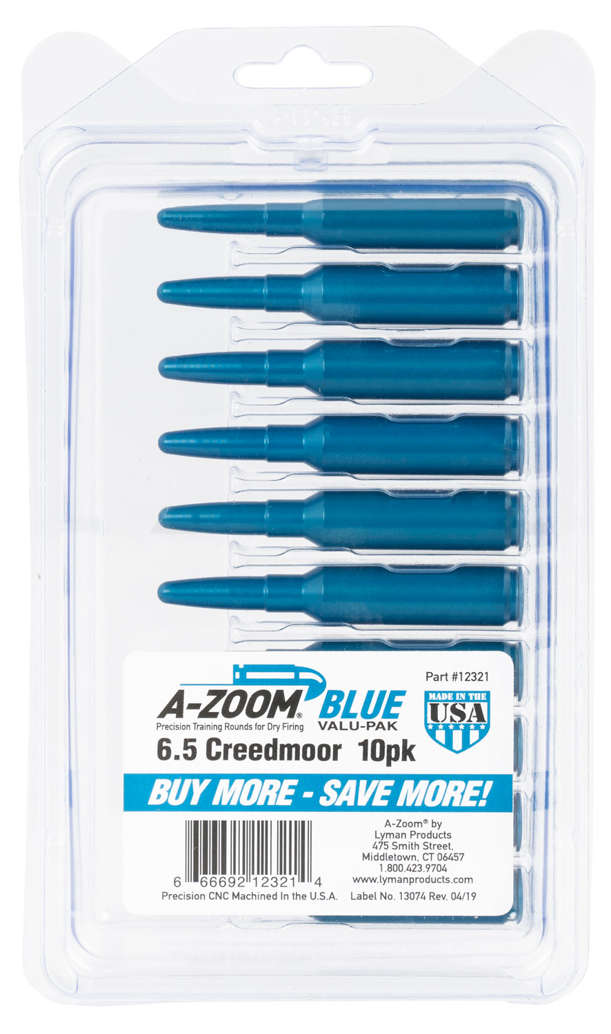 A-Zoom 6.5 Creedmoor Snap Cap Blue 10pk