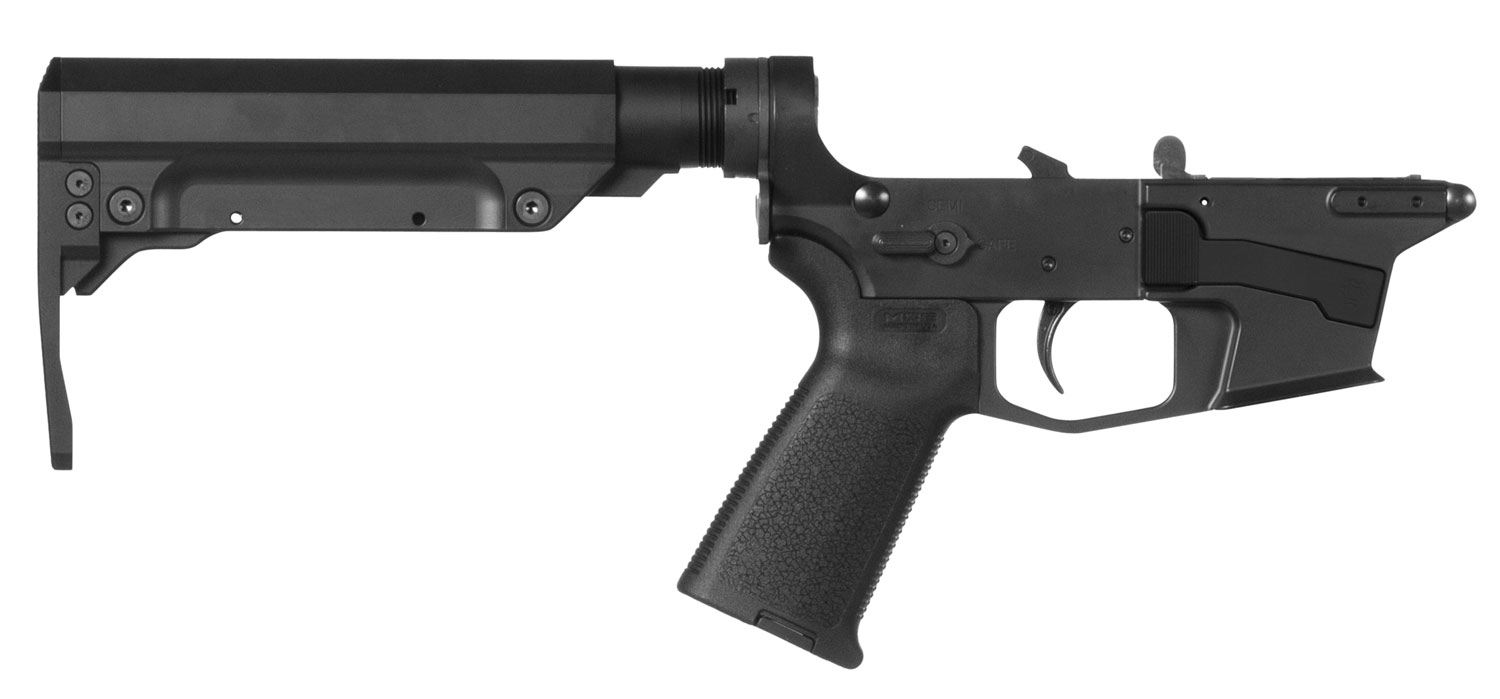 CMMG 92CA38C Resolute 300 MK17 AR-Platform Lower Group Black CMMG 6 Position RipStock Stock 7075 T6 Aluminum Black Hardcoat Anodized Receiver