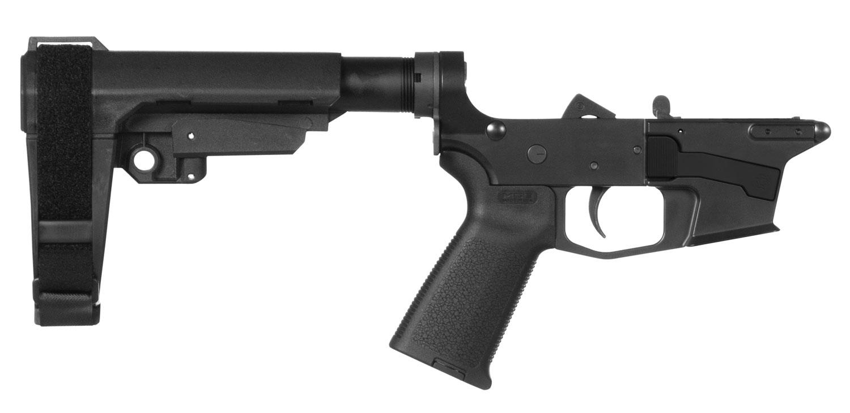 CMMG 92CA377 Banshee 200 MK17 AR-Pistol Platform Lower Group Black CMMG 6 Position RipBrace Stock 7075 T6 Aluminum Black Hardcoat Anodized Receiver