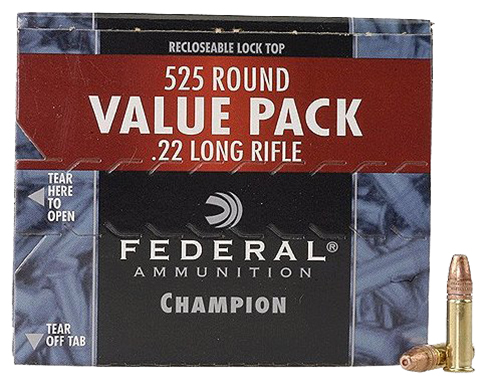 Federal 745 Champion 22 LR Copper-Plated Hollow Point 36 GR 525Box/10Case