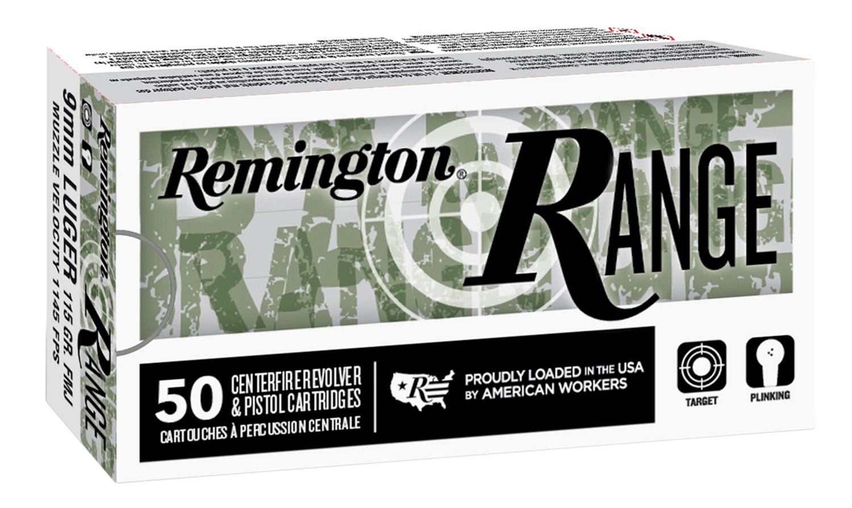 Remington Ammunition 28565 Range  9mm Luger 124 gr Full Metal Jacket (FMJ) 50 Bx/ 10 Cs