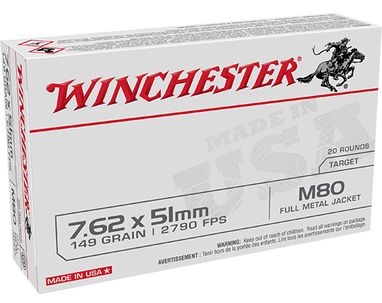 Winchester Ammo WM80 USA  7.62x51mm NATO 149 gr Full Metal Jacket (FMJ) 20 Bx/25 Cs