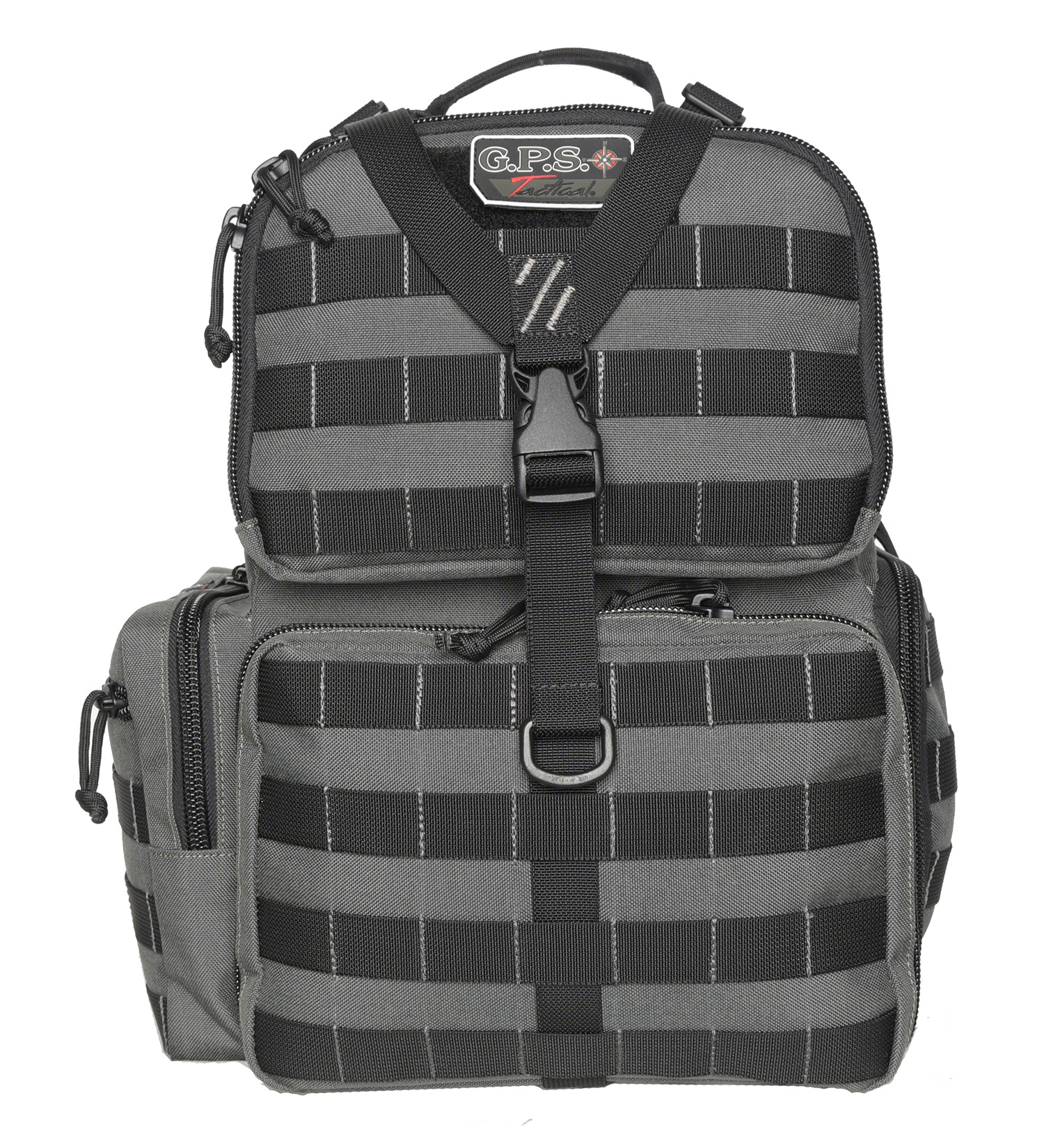 G*Outdoors GPS-T1612BPG Tactical Range Backpack Gray 1000D Polyester with Removable Pistol Storage, Visual ID Storage System & Lockable Zippers Holds 3 Handguns, Ammo & Accessories