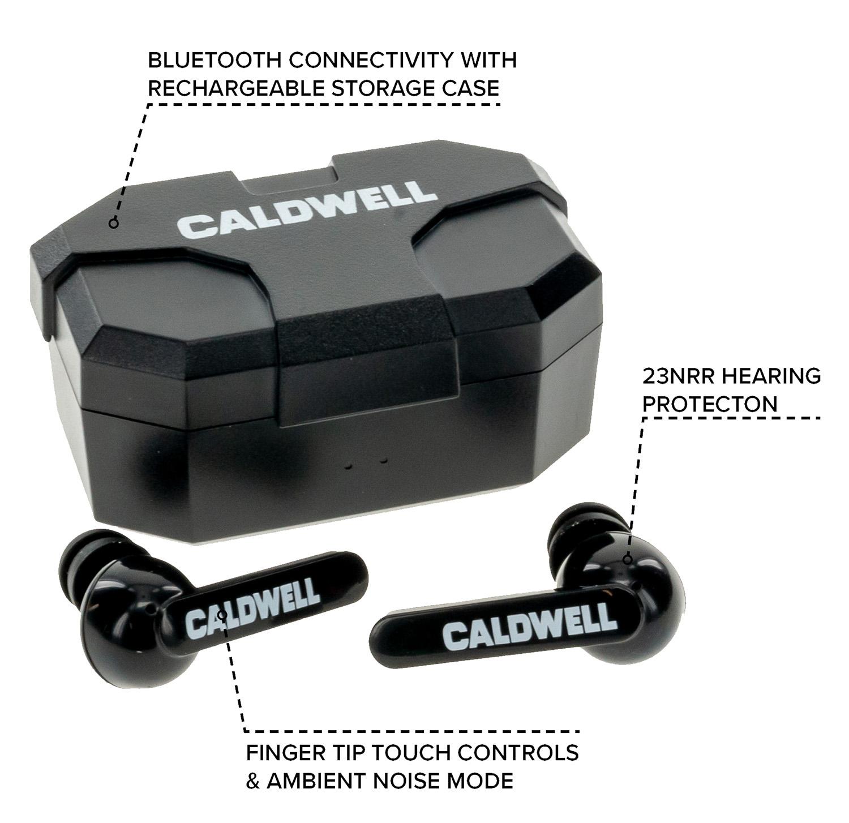 Caldwell 1102673 E-Max Shadows 23 dB Bluetooth Wireless Earbuds Black