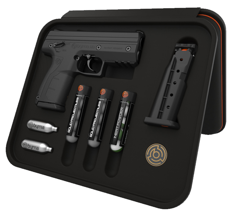 Byrna Technologies BK68300BLACKNVWIMI HD Pepper Kit CO2 68 Cal 5rd Black Frame Black Rubber Overmolded Grip