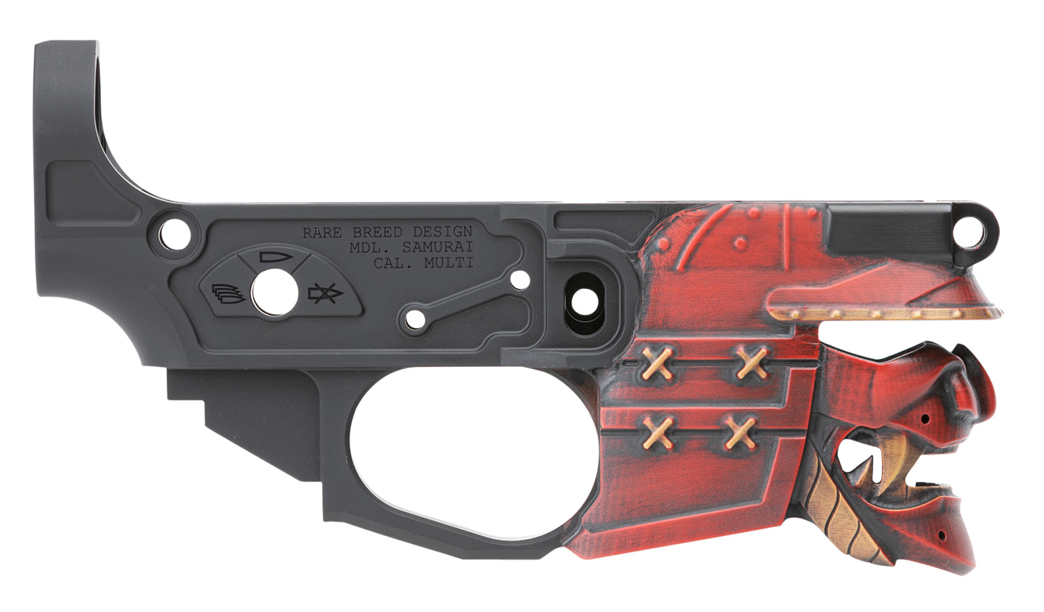 Spikes STLB630-PH Rare Breed Samurai Stripped Lower Receiver Multi-Caliber 7075-T6 Aluminum Black Anodized with Painted Front for AR-15