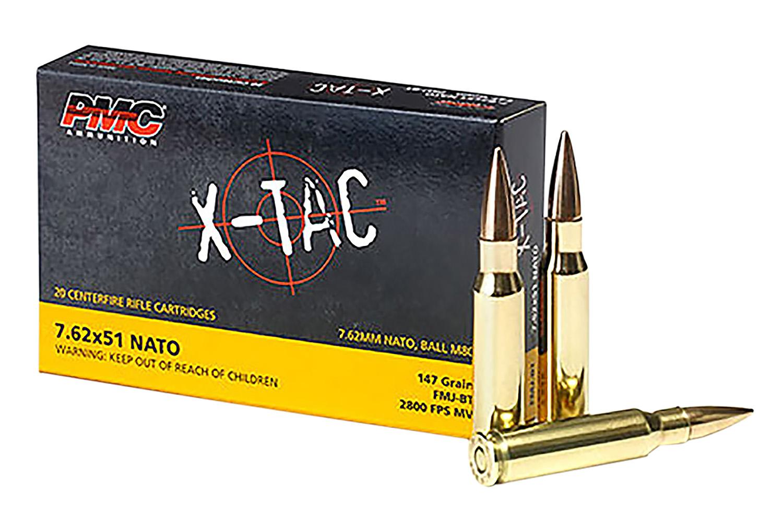 PMC X-TAC 7.62NATO Rifle Ammo - 147 Grain | FMJ-BT | 20rd Box