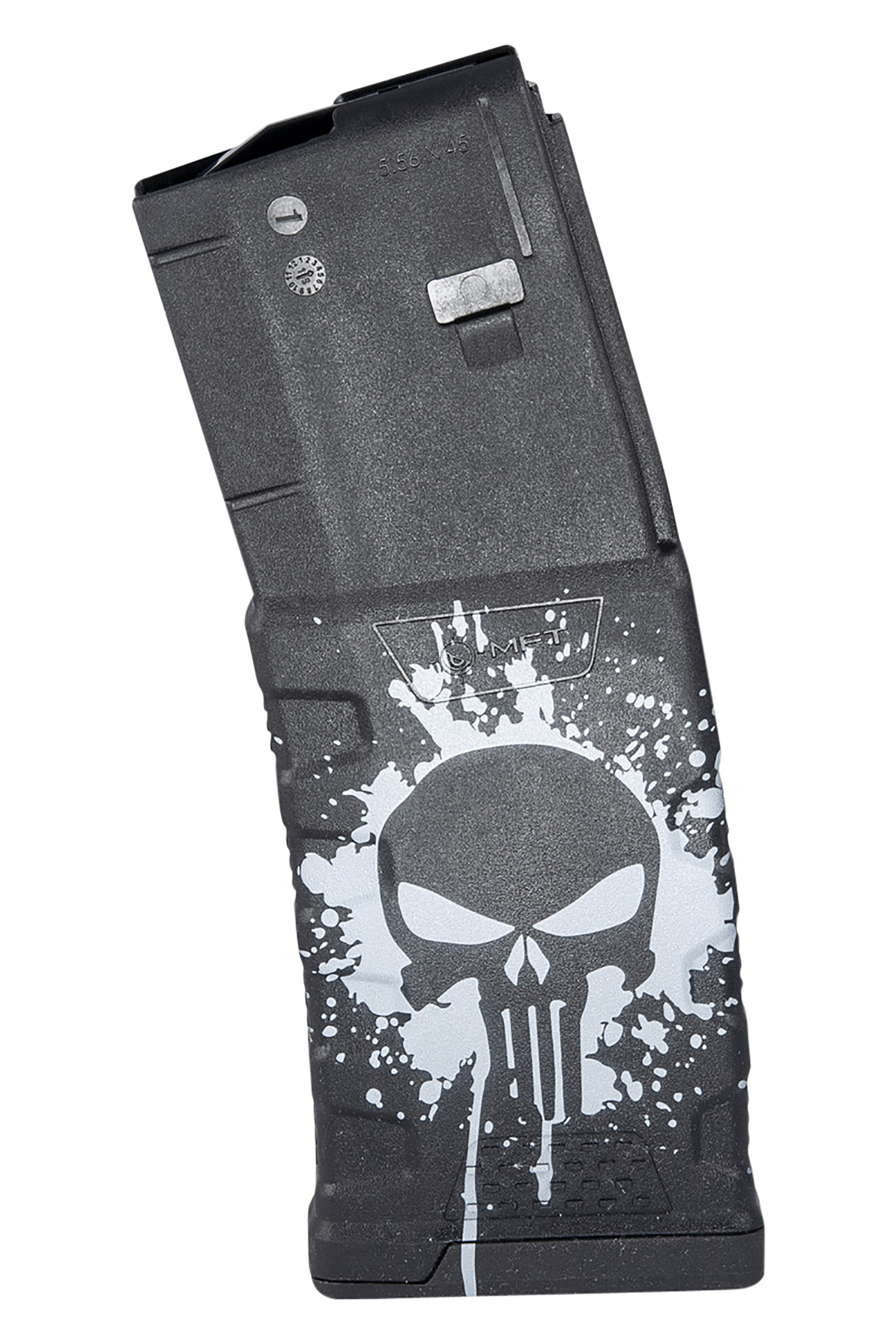 Mission First Tactical EXDPM556-PSS-WH Extreme Duty  223 Rem, 5.56x45mm NATO AR-15, M4 30rd Black with White Punisher Skull Splatter Detachable