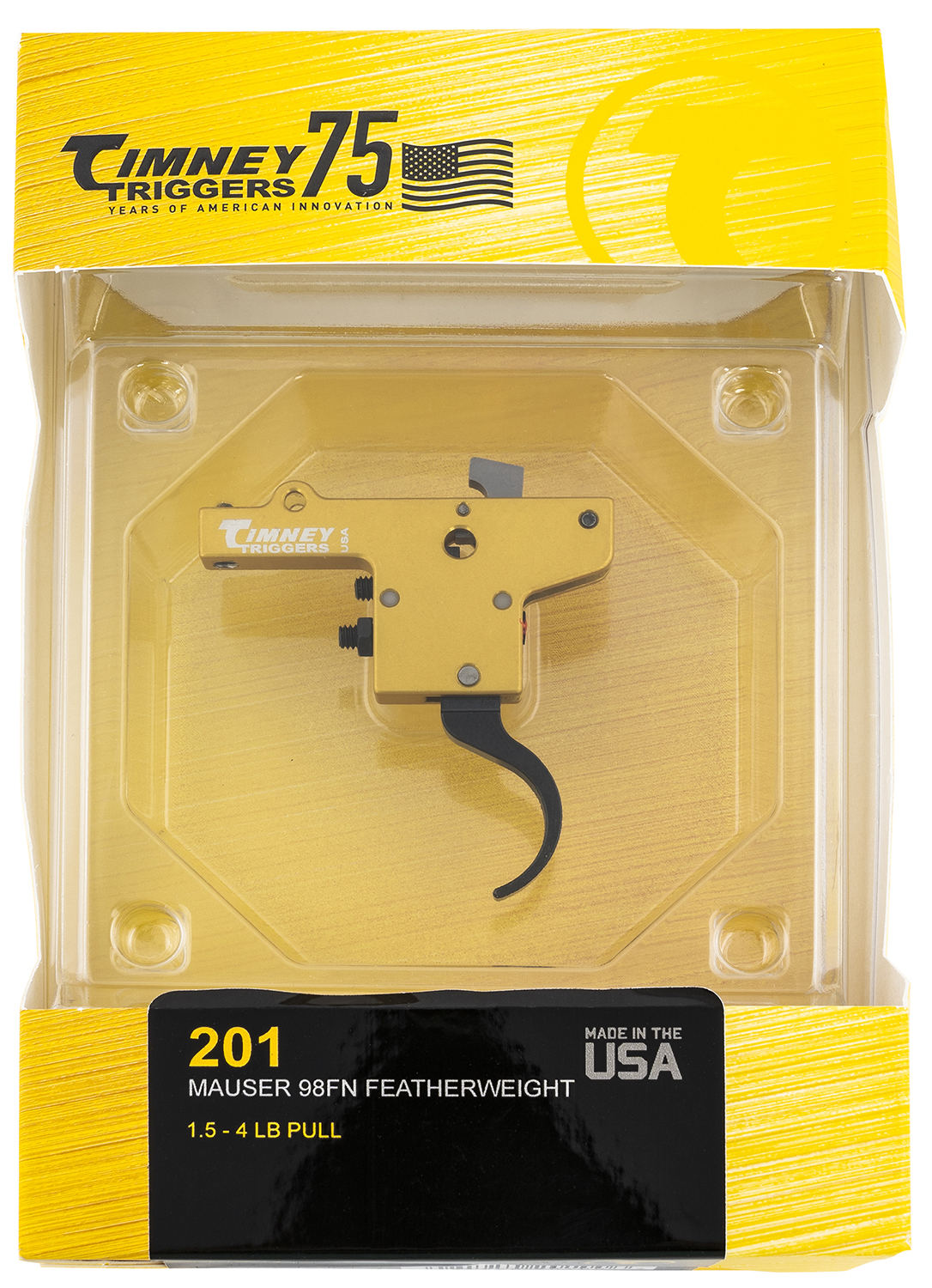 Timney Triggers 201 Featherweight  Yellow/Black Curved 3 lbs for Mauser 98FN