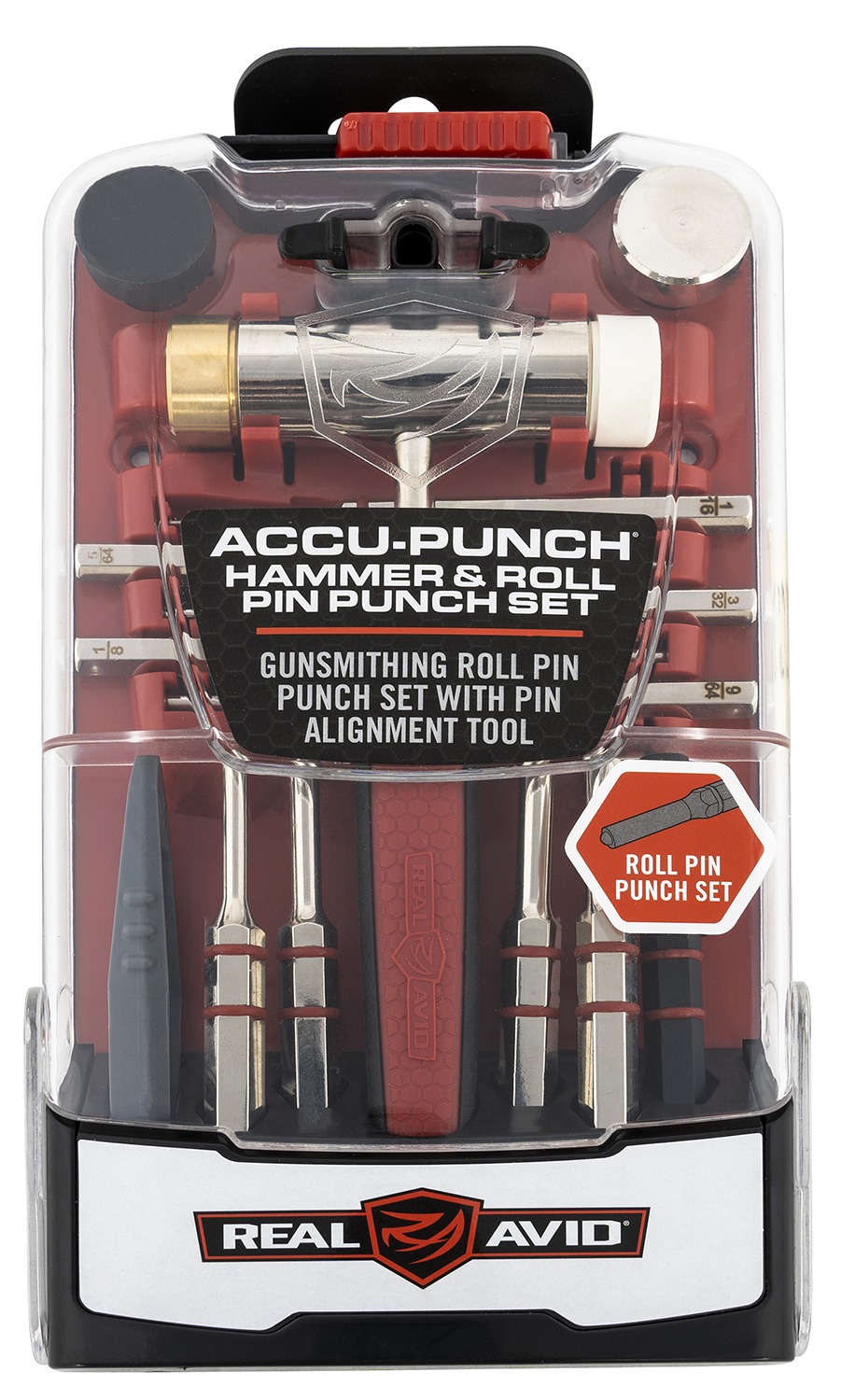 Real Avid AVHPS-RP Accu-Punch Hammer & Roll Pin Punch Set Black/Red Steel Rubber Handle