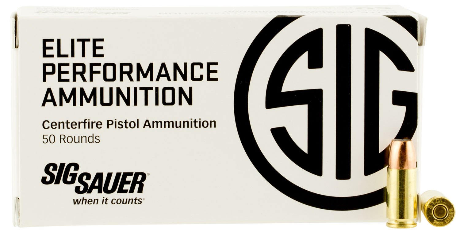 Sig Sauer E9MMA150 Elite V-Crown  9mm Luger 115 gr Jacketed Hollow Point (JHP) 50 Bx/ 20 Cs