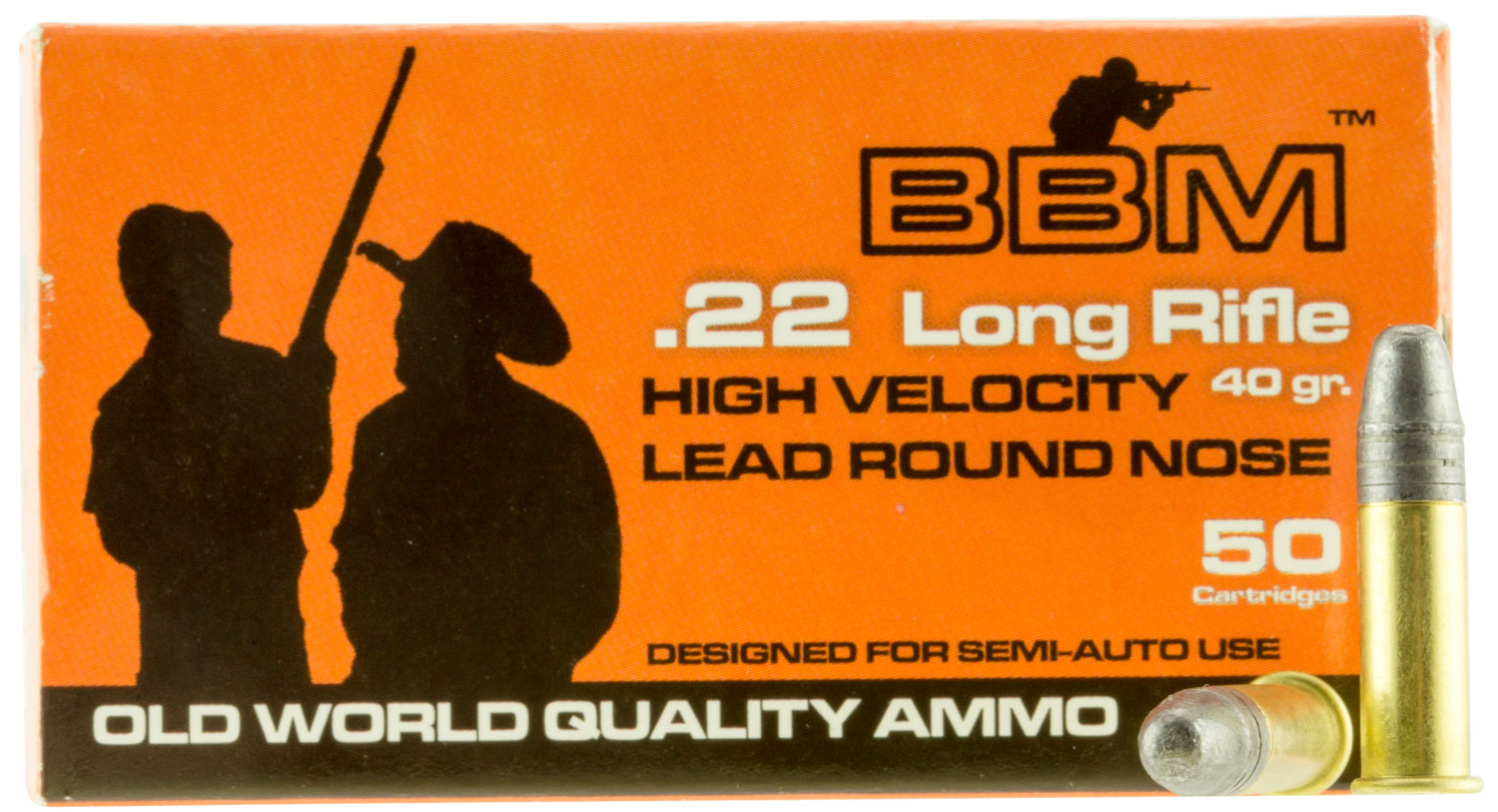 BBM 899033 High Velocity 22 Long Rifle (LR) 40 GR Copper-Plated Round Nose 50 Bx/ 100 Cs