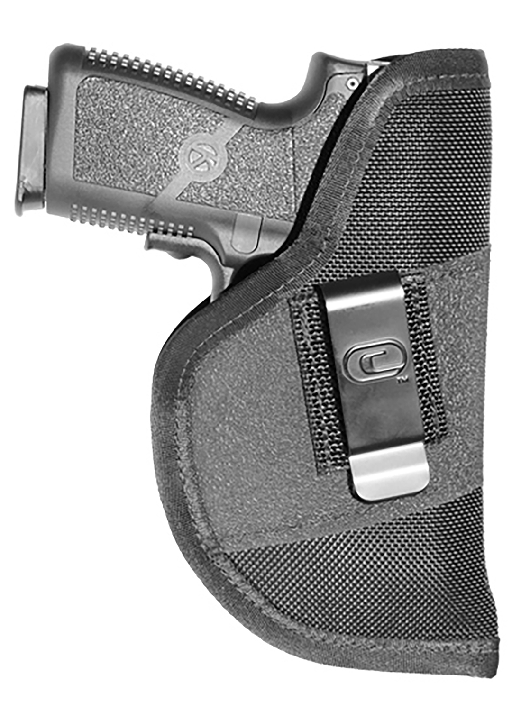 Crossfire Shooting Gear CRF-GRPCLPLSRSA1S-2 The Grip Clip Laser Holster 02 Black Rubber Grip Fabric/ 1680 Denier Ballistic Nylon IWB/Pocket 2-2.5