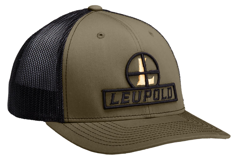 Leupold 170585 Reticle Flatbill Hat Green Loden/Black Adjustable Snapback OSFA Full-Structured