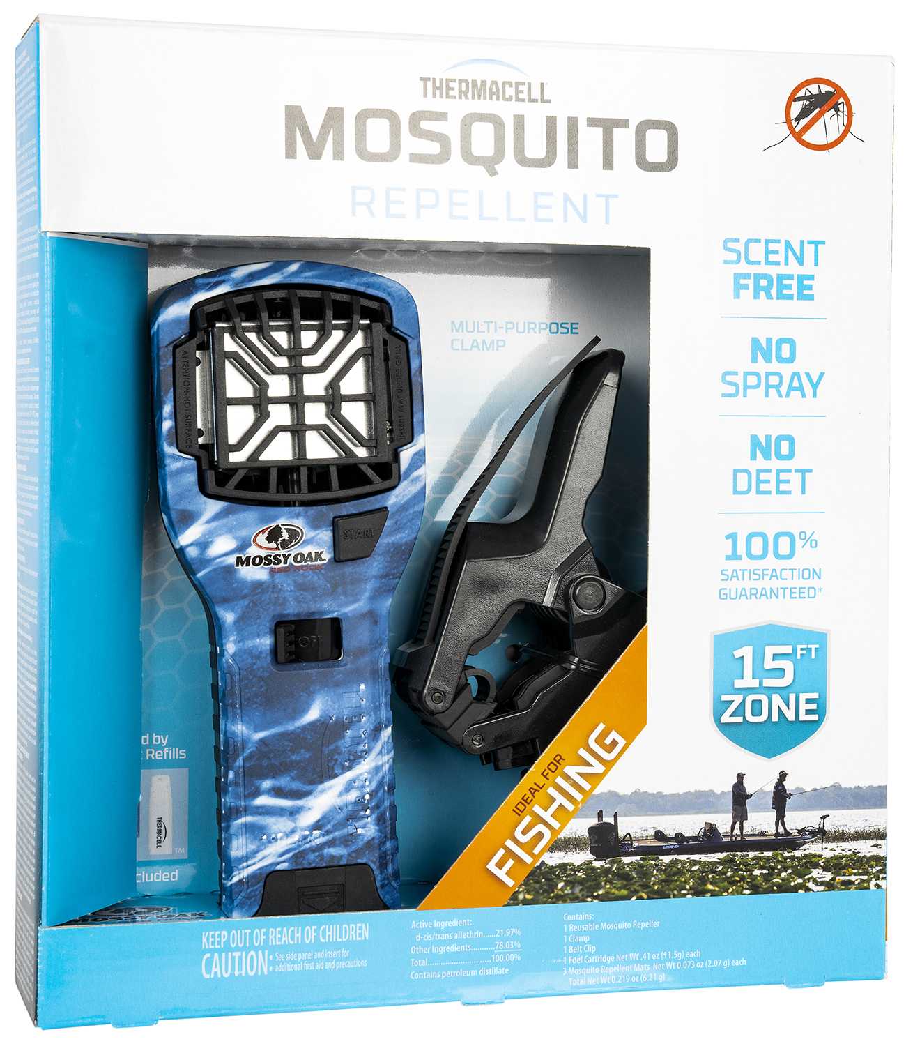 Thermacell MR300MO MR300 Portable Repeller Fishing Bundle Mossy Oak Blue Marlin Effective 15 ft Odorless Repellent Effective Up to 12 hrs