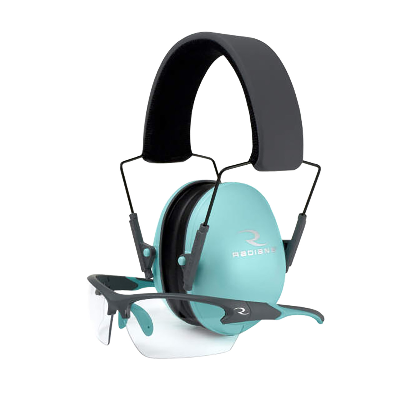 Radians LS0820CKCS G4 Junior Shooting Glasses 99.9% UV Rated Clear Lens with Charcoal Gray & Aqua Accents Frame & Aqua Blue Ear Cups with Black Headband 21 dB Lowset Earmuff