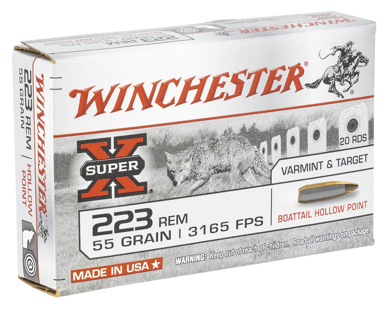 Winchester Ammo W223HP55 Super X Rifle 223 Rem 55 gr Boat-Tail Hollow Point (BTHP) 20 Bx/ 25 Cs