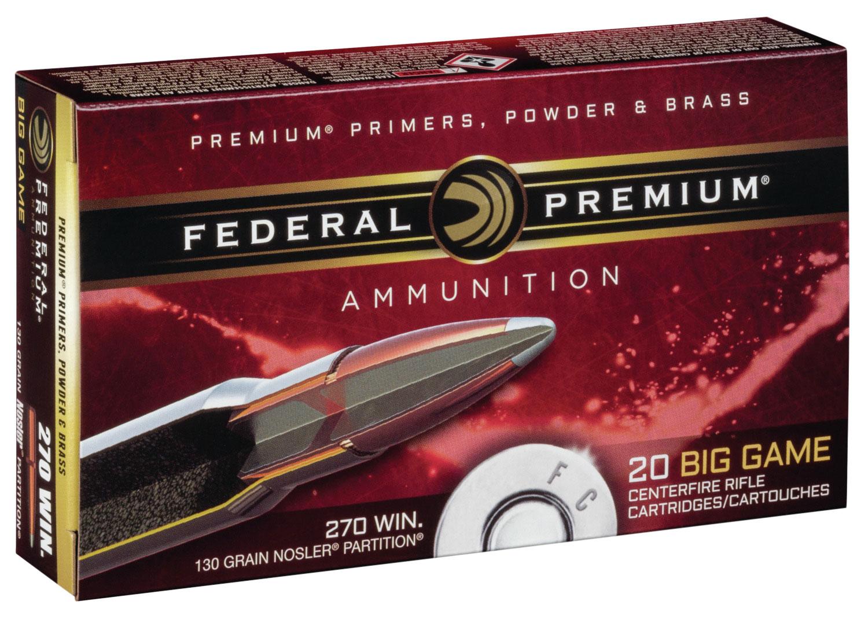 Federal P270P Premium   270 Winchester 130 GR Nosler Partition 20 Bx/ 10 Cs