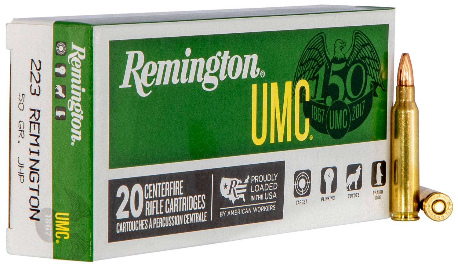 Remington Ammunition L223R38 UMC 223Rem/5.56NATO 50GR JHP 20Box/10Case