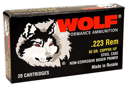 Wolf 22362HP PolyFormance Rifle 223 Remington/5.56 NATO 62 GR Hollow Point 20 Bx/ 25 Cs 500 Total (Case)