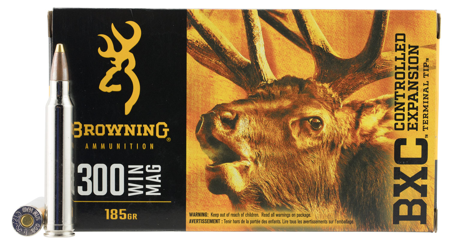 Browning Ammo B192203001 BXC Controlled Expansion 300 Win Mag 185 GR Terminal Tip 20 Bx/ 10 Cs